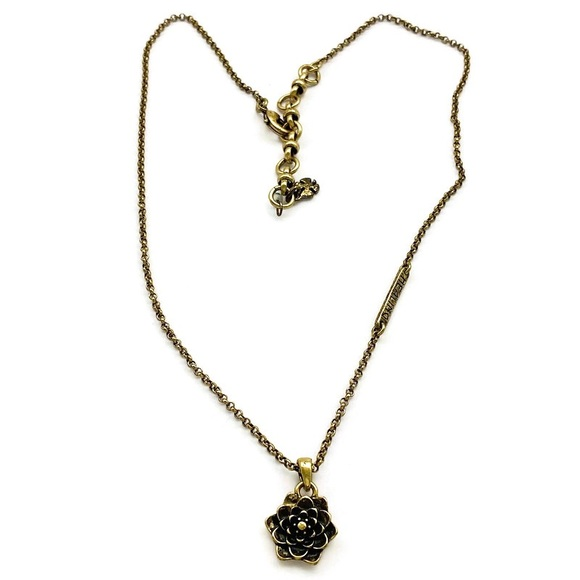Lucky Brand Brass Healing Lotus Charm Necklace